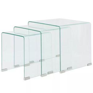 vidaXL Dreiteiliges Satztisch-Set aus gehärtetem Glas Transparent