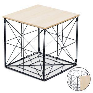 Tischkorb Beistelltisch Nachttisch Sofatisch faltbar 31x31x31 cm Metallgestell Holz/MDF Platte natur