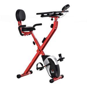 HOMCOM Heimtrainer Fahrradtrainer 1,5 kg Schwungrad Trimmrad mit 8 stufig einstellbarem Magnetwiderstand Rädern Stahl ABS Rot+Schwarz 97-107 x 53 x 22 cm