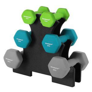 SONGMICS Kurzhanteln 12kg Hantelsets mit Hantelständer 2 x 1 kg/2 x 2 kg/2 x 3 kg Mattes Finish Neopren-Beschichtung Krafttraining Fitnessstudio Hexagon SYL612GN