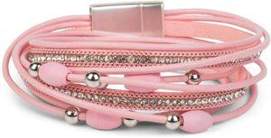 styleBREAKER Wickelarmband mit Strass und Ketten, Schmuck Perlen und Bändern, Magnetverschluss, Armband, Damen 05040075, Farbe:Rosa