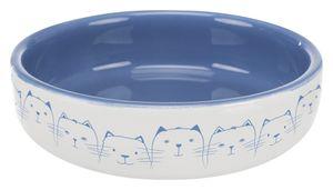 Trixie Keramiknapf, Katze, für kurznasige Rassen, 0,3 l/ø 15 cm, blau/creme