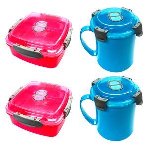 Mikrowellen Set 2x Suppentasse und 2x Dose mit Ventil Tasse Frischhaltedose Suppenbecher Mikrowellendose Mikrowellentopf
