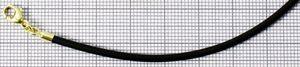 Kautschukkette schwarz Karabinerverschluss Gelbgold 333 2mm Breit 42cm 47cm 47