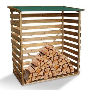 MCombo Kaminholzregal mit Rückwand Brennholzregal Kaminholzunterstand Holz braun 1200