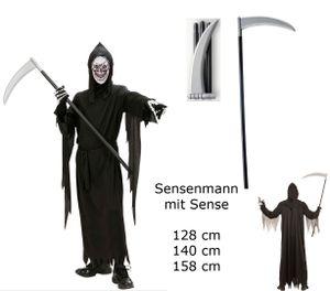 Kinder Kostüm Sensenmann + Sense - Gr. 140 cm - Robe Gürte, Maske K