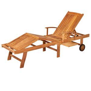 Garland Gartenliege Brise Teak Holz Rollen Lehne 5-Fach Verstellbar Klapptisch Armlehnen Klappbar Sonnenliege Klappliege