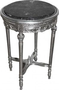 Barock Beistelltisch Rund Silber  ModY12  73 x 47 cm Antik Stil