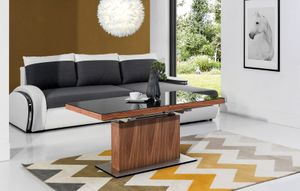 Design Couchtisch Tisch MN-3 Nussbaum / Walnuss Schwarzglas höhenverstellbar & ausziehbar Esstisch