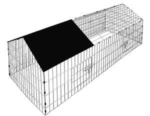 Kaninchenstall Freigehege Hasenkäfig Freilauf Gehege Hasenstall Laufstall Gehege, Farbe:schwarz