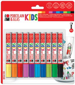 """Marabu Marker """"Porcelain & Glas KIDS"""" MEGA FUN Porzellan und Glasmarker 10er Set"""
