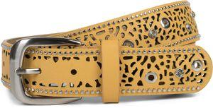 styleBREAKER Damen Gürtel mit Cutout Lochmuster, Strass und Nieten, Vintage Nietengürtel, kürzbar 03010092, Farbe:Cognac, Größe:80cm