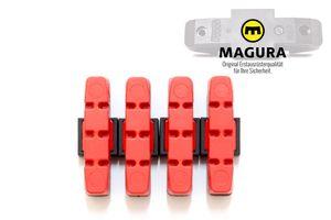 4 Stück MAGURA Original Bremsbelag hydraulische Felgenbremse HS11 22 24 33 66 rot