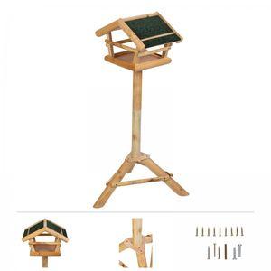 Grafner® Vogel Futterhaus mit Ständer aus Kiefernholz Vogelhaus