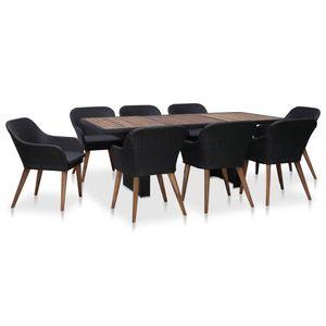 9-teiliges Outdoor-Essgarnitur Garten-Essgruppe Sitzgruppe Tisch + stuhl mit Auflagen Poly Rattan Schwarz