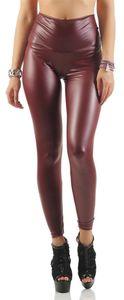 Damen Leggings Hohe Taille Wet-Look Glanz, Bordo Matt 5XL/50