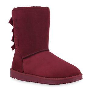 Mytrendshoe Damen Schlupfstiefel Warm Gefütterte Stiefel Schleife Winter Boots 824046, Farbe: Dunkelrot, Größe: 38