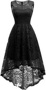 Elegante Abendkleider Cocktailkleider Damenkleider Brautjungfernkleider aus Spitzen Knielange Rockabilly Ballkleid Rund Ausschnitt M