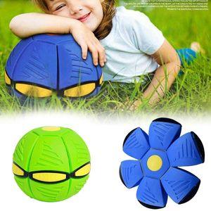 2x Magischer UFO-Ball, Fliegende Untertasse Ball, Magisches Verformungslicht UFO-Spielzeug, Spielzeug für Kinder im Freien, Garten, Strand(grün, blau)