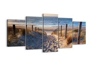 """Leinwandbild - 160x85 cm - """"Das Rauschen des Meeres, das Singen von Vögeln, ein wilder Strand zwischen den Gräsern ...""""- Wandbilder - Meer Strand Dünen  - Arttor - EA160x85-3612"""