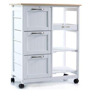 Küchenwagen auf Rollen mit 3 Schubladen, 3 Ebenen, Arbeitsplatte aus Holz, Servierwagen im Landhausstil, weiß