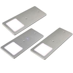 kalb    LED Unterbauleuchten silber 5W- sehr flache Küchenleuchte mit Touch-Dimmfunktion Einbaustrahler Einbauspot, Auswahl:3er Set neutralweiss