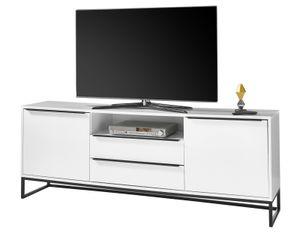 TV-Lowboard Lille weiß matt Lack Fernsehtisch für Flat-TV mit Metallgestell schwarz Board 184 x 69 cm Fernseher in Komforthöhe