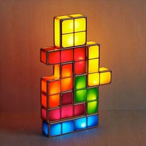 Tetris Licht, LED Nachtlicht, 7 Farben Induktion Interlocking Schreibtischlampe, 3D DIY Magic Blocks Puzzles Spielzeug für Kinder Teenager