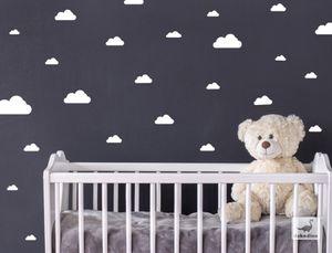 dekodino® Wandtattoo Kinderzimmer Wolken in weiß Deko Set 25 Stück