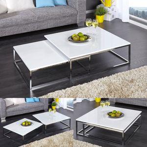 cagü: Design 2er Set Couchtische [MAILAND] Weiß Hochglanz mit Chromgestell 75/65cm Quadratisch