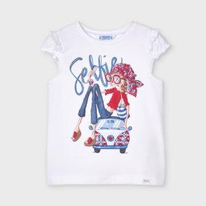 3013 Mayoral Tshirt T-shirt Shirt weiß mit Druck blau + rot Glitzer Gr. 122 NEU