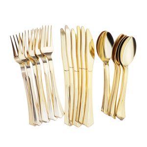 18 / set Geschirr Einweg-Plastikbesteck Gabeln Messer Löffel Golden wie beschrieben
