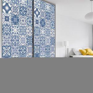 7 Stk. Treppenhausaufkleber Wandbild Wandfliesen Aufkleber selbstklebend,Farbe: Blauer marokkanischer Retro,Größe:100x21cm