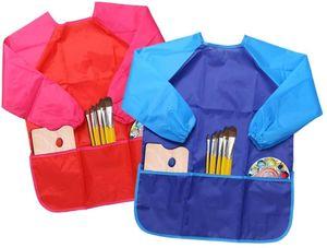 2 Stück Malschürze Kinder, Wasserdicht Kinder Malkittel 3-7 Jahre Mädchen/Junge, Bastelschürze Kinder mit Ärmeln für Schule Kunst Malerei, Kochen, Essen,Laboraktivität