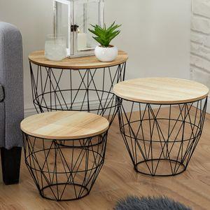 Beistelltisch 3er Set oval Tisch Korbset aus Metall schwarz mit Holzplatte MDF natur