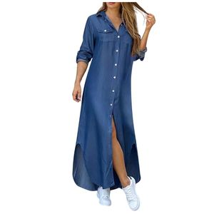 Fashion Womens Casual Lose sexy Langarm Pocket Button Shirt Print Kleid Größe:L,Farbe:Blau