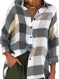 Langes, lässiges, kariertes, bedrucktes Langarmhemd für Frauen,Farbe: Grau,Größe:L