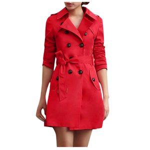 Frauen Slim Windbreaker Zweireihige lange Trenchcoat Jacke Mantel Outwear Größe:S,Farbe:Rot