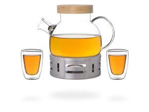 Kira Teeset / Teeservice / Teekanne Glas 900ml mit Tüllensieb, Bambusdeckel, Stövchen und 2 doppelwandige Teegläser je 100ml