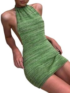 Damen Sexy Neckholder-Strickkleid,Farbe: Grün,Größe:S