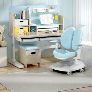 360Home Kinderschreibtisch Schreibtisch mit Stuhl set höhenverstellbar neigbar Schüler Blau  120x65cm
