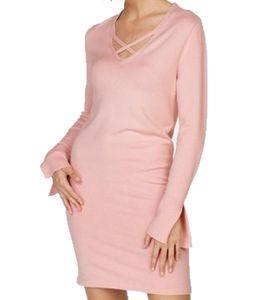 Laura Scott Strickkleid schlichtes Damen Kleid mit V Ausschnitt mit überkreuzten Bändern Rosa, Größe:44