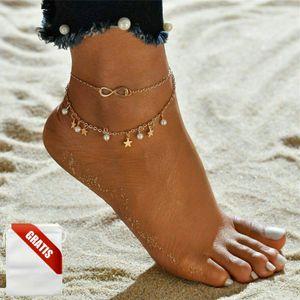 Fußkettchen Damen Gold Infninty Unendlichkeit Perlen Fußkette Fusskette Frauen