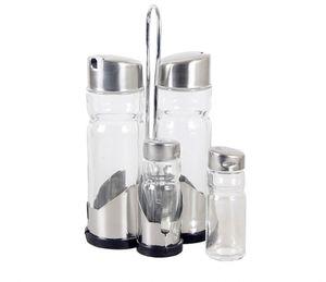 5tlg. Menage Essig / Ölflasche + Salz & Pfeffer Sole