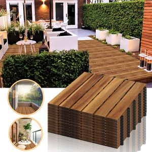 karpal 5m2 Holzfliesen 55-er Kachel Set geeignet als Terrassenfliesen und Balkonfliesen, aus Akazien Holz , 30x30 cm, fuer Garten Terrasse Balkon