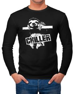 Herren Longsleeve Faultier Chiller Sloth Langarmshirt Moonworks®  L