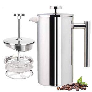 MEIYOU  French Press Kaffeebereiter, Edelstahl 304, isoliert, Kaffeepresse mit 2 extra Sieben, 800ML, Silber