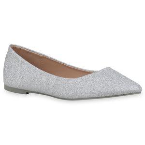 Mytrendshoe Damen Klassische Ballerinas Glitzer Slipper Elegante Slip Ons 833258, Farbe: Silber, Größe: 39