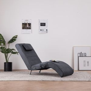 Massage Chaiselongue Ergonomisch - Wohnzimmer Relaxliege, Liegestuhl, Relaxsessel mit Kissen Grau Wildleder-Optik