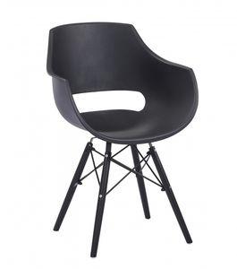 Esszimmerstuhl Schalenstuhl schwarz Holzfüße schwarz LEA